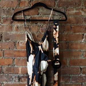 Topshop Tie Die Belted Slip Dress